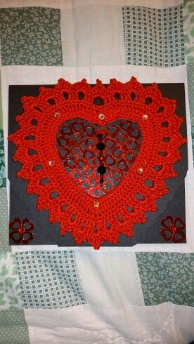 Crochet heart frames. Made by Crotchety Things. Find us on Facebook