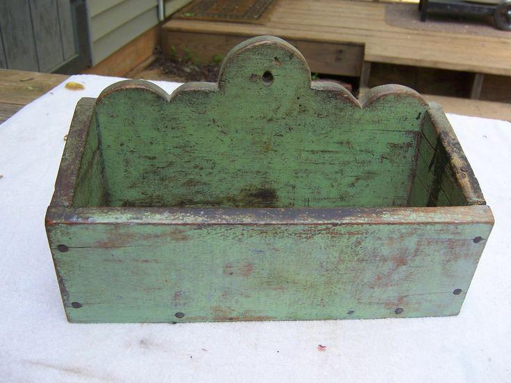 12in long x 7in high (back) AAFA-19Th C Hanging Wall Candle Box Original Apple Green Lolipop back #Primitive