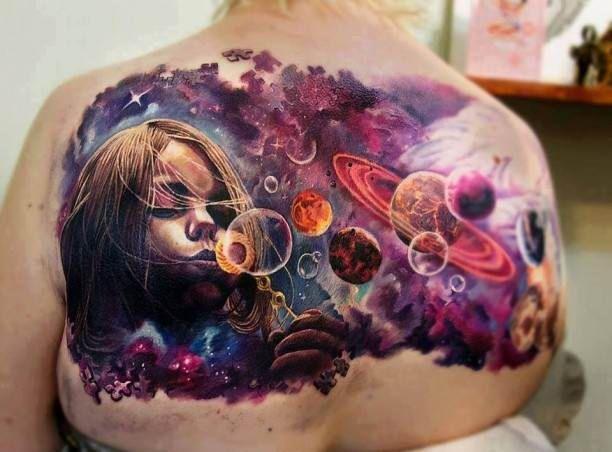 Space Tattoo with children portrait   #Tattoo, #Tattooed, #Tattoos