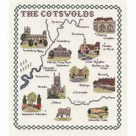 Cotswolds Map Cross Stitch Kit by Classic Embroidery
