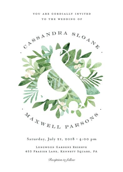 a bold ampersand is reversed out of the beautiful greens to create an elegant garden or tropical wedding invite.
