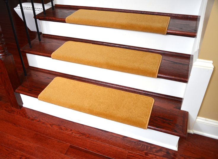 "Dean Modern DIY Peel and Stick Bullnose Wraparound Non-Skid Nylon Carpet Stair Treads - Gold Coast 30""W (15) - Dean Stair Treads"