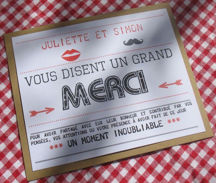 Carte De Remerciement Mariage Esprit Guinguette Carte De