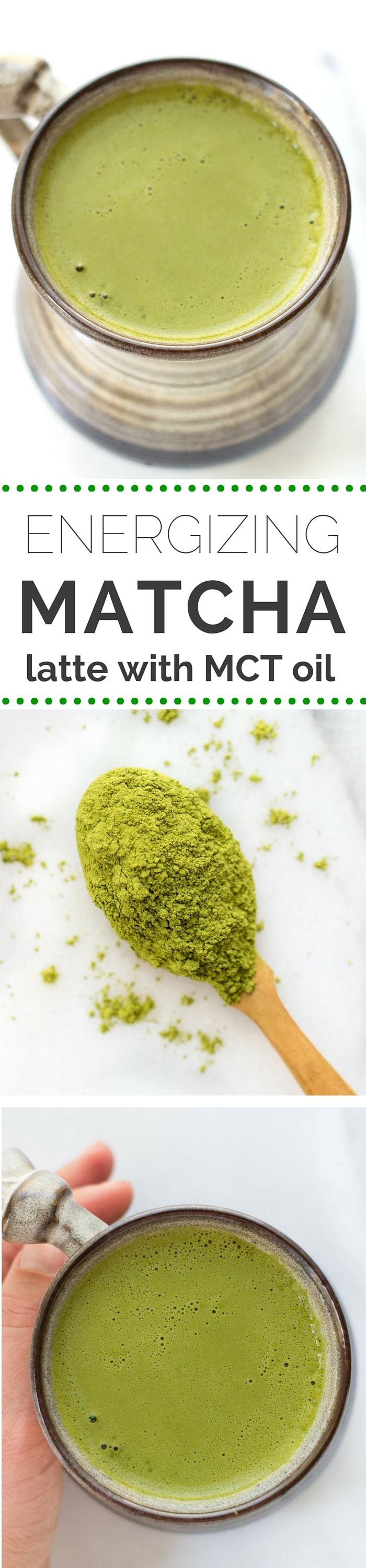ENERGIZING MATCHA LATTE -- made in a blender with tons of brain-boosting ingredients like MCT oil and maca powder!
