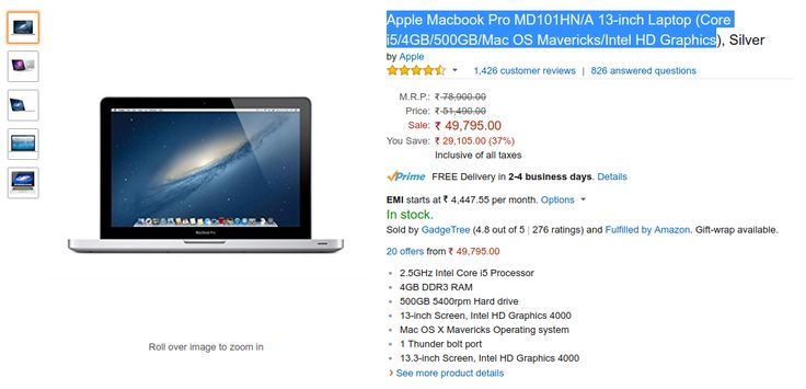 Apple Macbook Pro MD101HN/A Laptop Lowest Price in India [ 2017 ]   FlipHotDeals