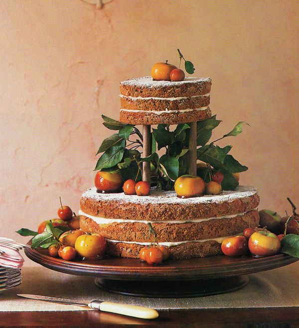 Naked wedding cakes via Snippet & Ink (no icing)