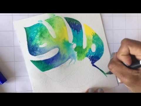 ZELFMAKEN Aquarel kunst Monstera Tropisch blad met Tombow dual brush markers #megaworkshopevent - YouTube