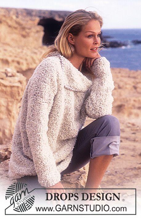 DROPS Sweater Big Bouclé with large collar. ~ DROPS Design