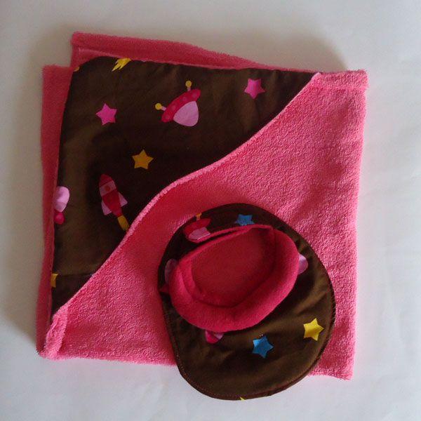 Toalla con capucha y babero galáctico - Chocolat Kids