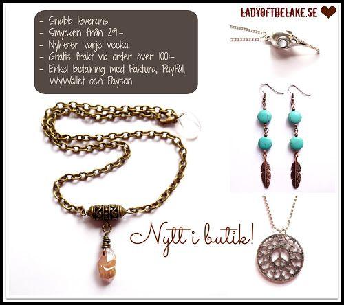 """Nyheter från Lady of the Lake Smyckens """"Sveriges största webshop med bohemiska smycken"""" http://ladyofthelake.se #shopping #smycken #svenskdesign #bohemisk #etno #tribal #steampunk"""