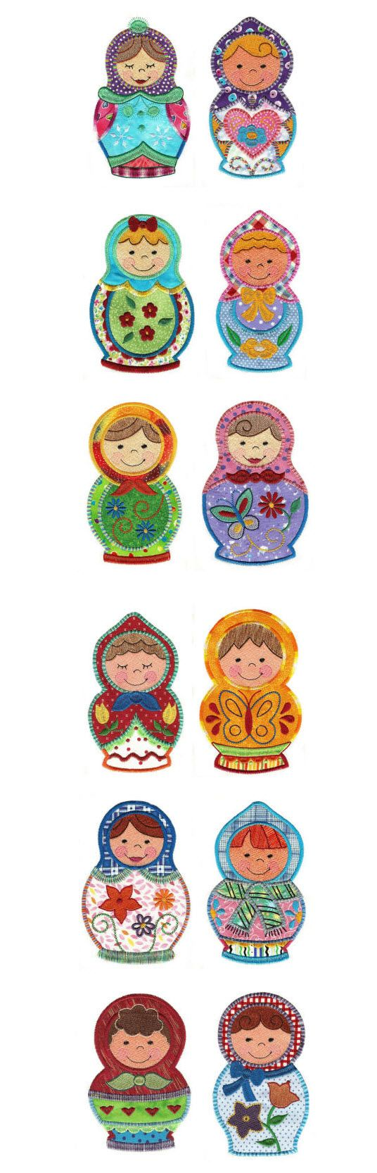 Embroidery | Free Machine Embroidery Designs| Cute Russian Dolls Applique