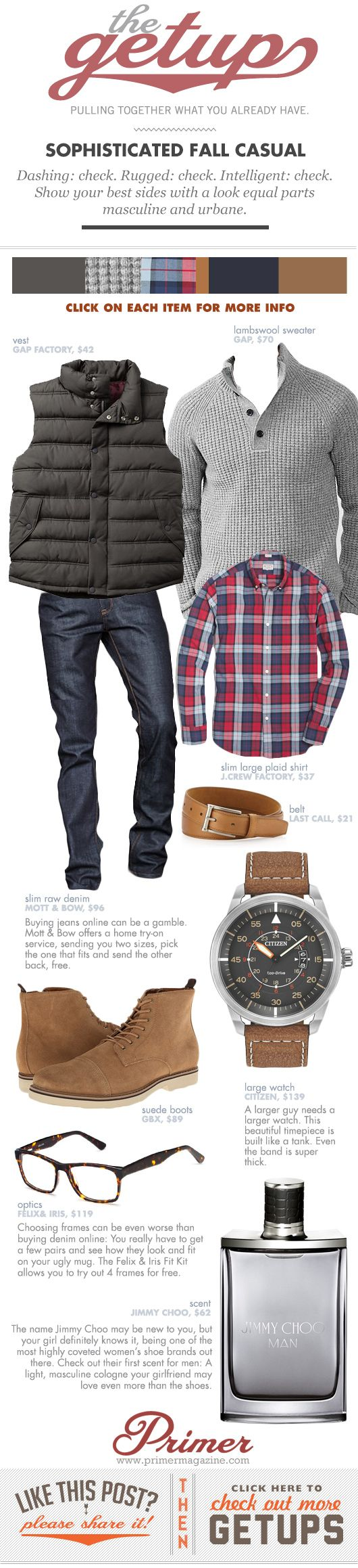 Dashing: check. Rugged: check. Intelligent: check. Show your best sides with a look equal parts masculine and urbane.