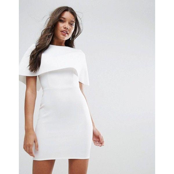 ASOS Cape Scuba Mini Dress (€54) ❤ liked on Polyvore featuring dresses, pink, mini prom dresses, asos dresses, pink dress, party dresses and short white dresses
