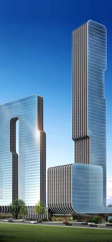 Dalian Orstar City, Dalian, China by Arquitectonica Architects :: 49 floors, height 220m