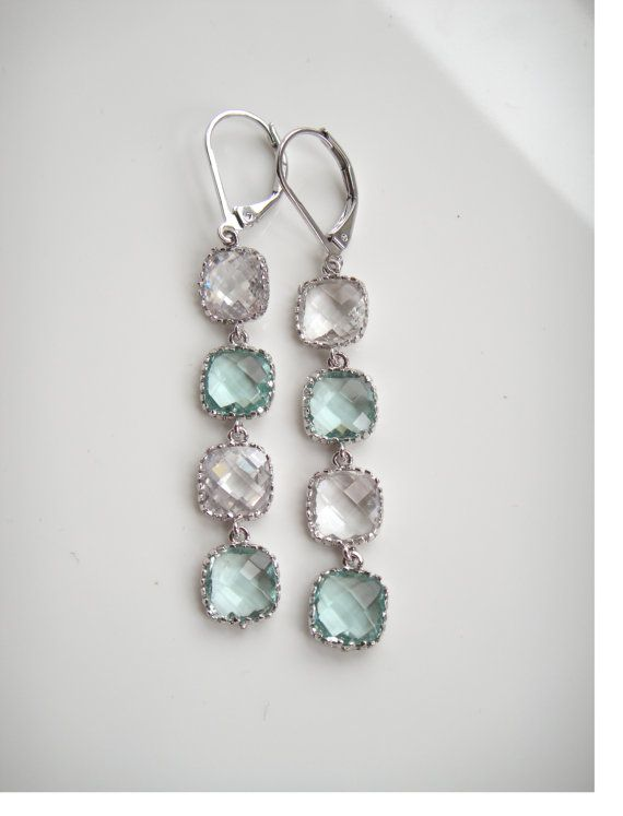 Silver Dangle Earrings Tassel Earrings Drop Earrings Silver Jewelry Crystal Earrings Swarovski Earrings Aquamarine Earrings Stone Pendant
