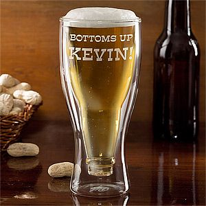 Personalize your home with this decorative Bottoms Up! Personalized Bottle Glass. Find the best personalized entertaining and home gifts at PersonalizationMall.com
