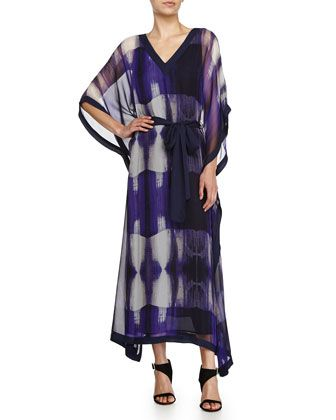 Three-Quarter-Sleeve Printed Caftan, Violet by Halston Heritage at Neiman Marcus.