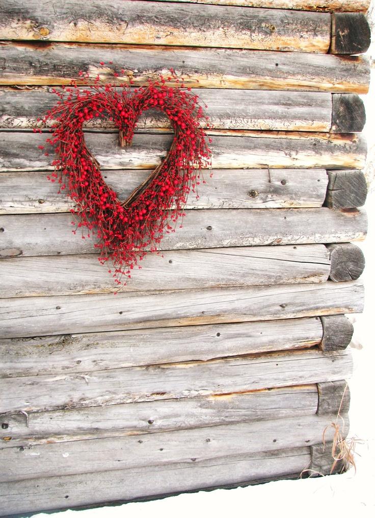 RUSTIC WOODLAND WEDDING Heart Wreath-Red Berry Wreath-