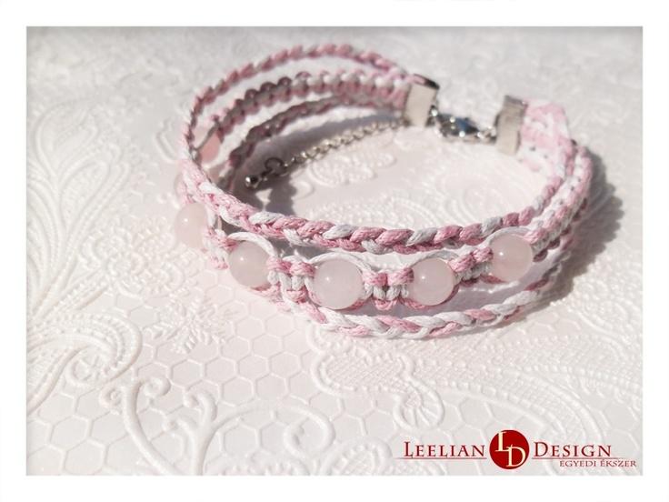 Rosequartz triple bracelet in two colours.  Rózsakvarc tripla karkötő két színben.