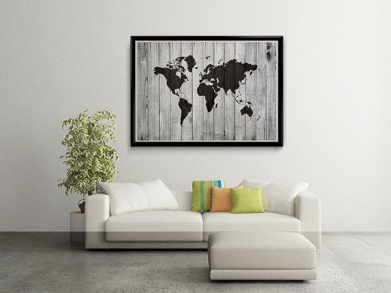 World Map Wood World Map Poster World Map Art by MyPrintableArts
