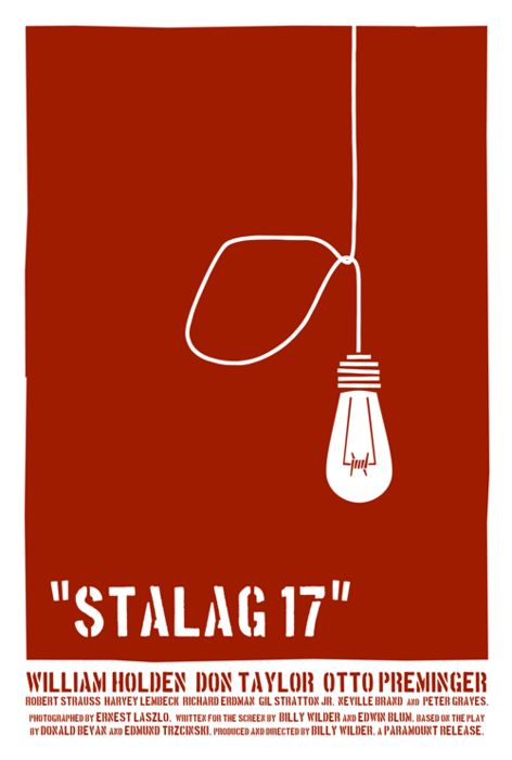 Saul Bass.  Billy Wilder's Stalag 17 (1953), starring William Holden. Look for film director Otto Preminger and a very young Peter Graves.