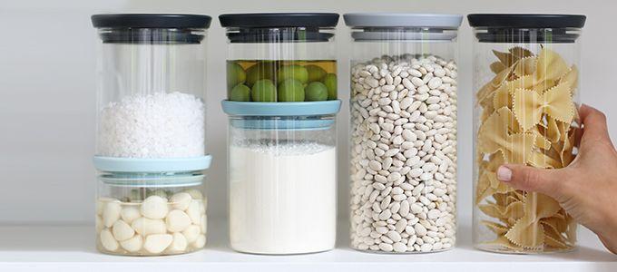 Прозрачные стеклянные банки для хранения сыпучих продуктов | Brabantia