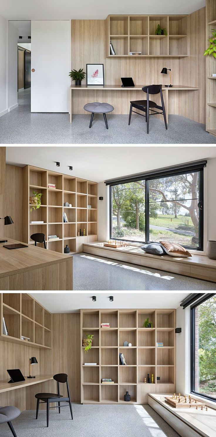In this modern library or home office, a sliding white door lets the room be closed off when needed, while a built-in desk and plenty of shelves allows for working or quiet reading. A large sliding glass window can be opened and enjoyed from the built-in wood window bench.