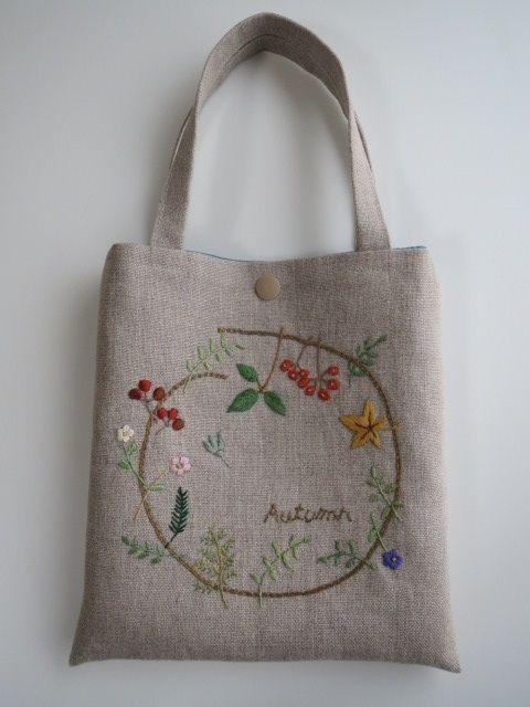 刺繍のミニバッグ(autumn) 2x