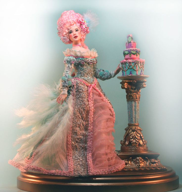 """Fun Marie Antoinette and Cake 12"""" All Polymer Clay OOAK by Patricia Rose Doll 
