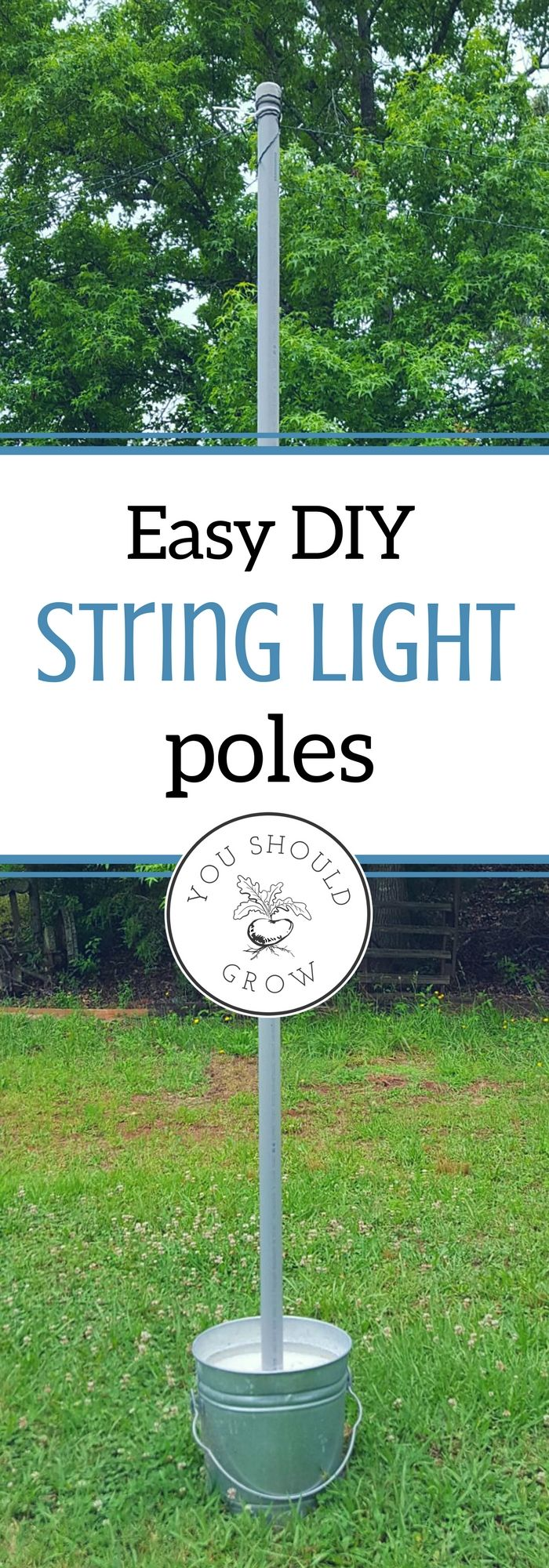 This is an easy DIY for outdoor lighting. These string light poles took only a few minutes and less than $100 to complete. Used with solar lights, they are mobile, but they're also sturdy enough to be left outside all the time. via @whippoorwillgar