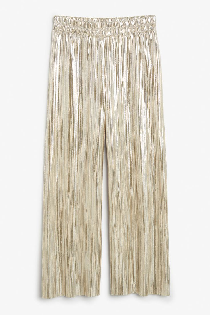 Wide metallic trousers - Oh golden - Trousers & shorts - Monki IE