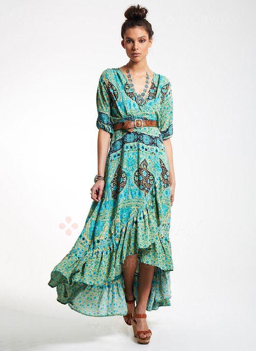Bröllopsklänningar - $44.30 - Polyester Blommor Halvlång ärm Asymmetrisk Vintage Bröllopsklänningar (1955104814)