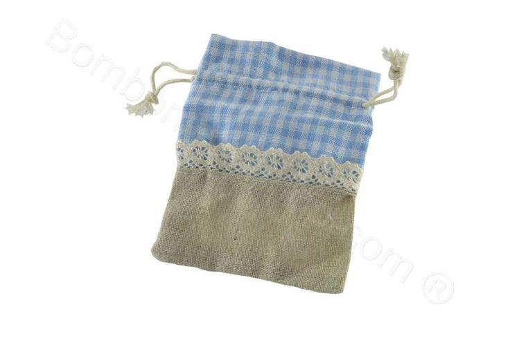 Sacchettino portaconfetti fai da te juta e tessuto quadretti celesti (CB)