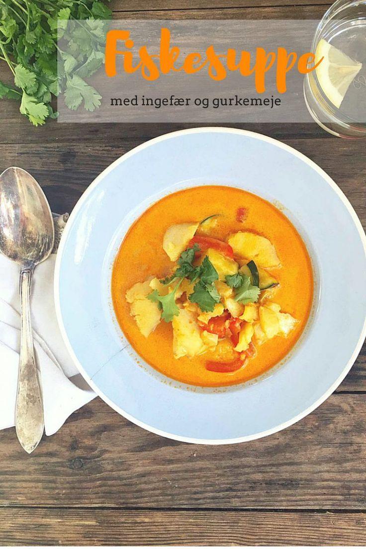 Fiskesuppe for begyndere - prøv denne lækre og ikke-fiskede suppe med ingefær og gurkemeje. Nem at lave og virkelig god smag! Opskrift her: Madbanditten.dk