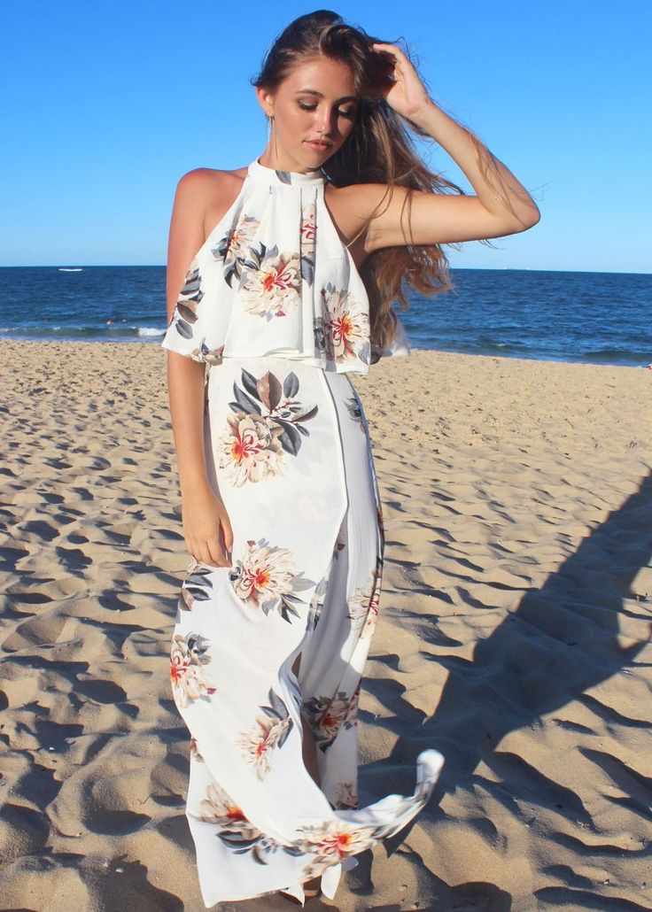Stunning Floral Maxi Dress with High Neck and Top Overlay   #shine #boutiques #australia #maxi #dress #high #neck #floral #elegant