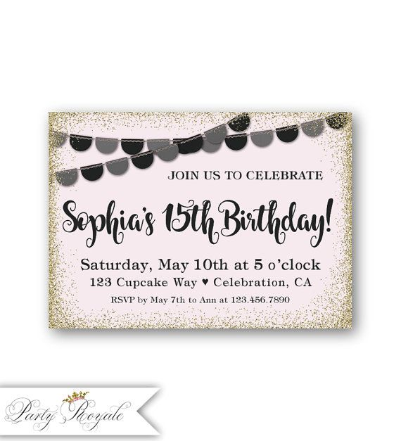 Teen Birthday Invitations 15th Birthday Girl's 15th