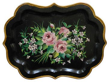 Consigned - Hand Painted Tole Tray eclectic-serving-trays