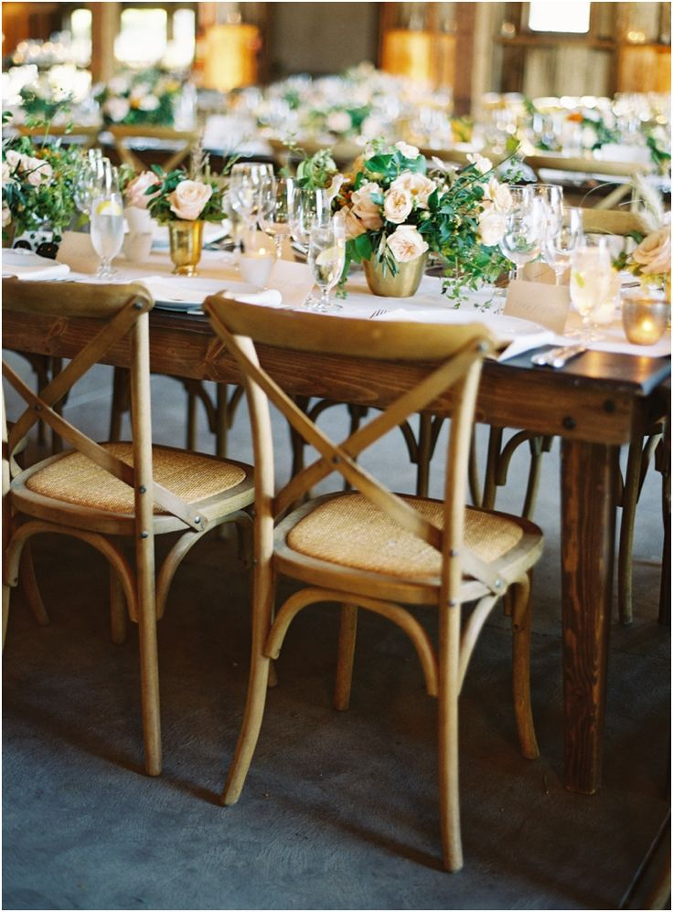Farm Tables And Cross Back Chairs, Elegant Centerpieces Stunning!