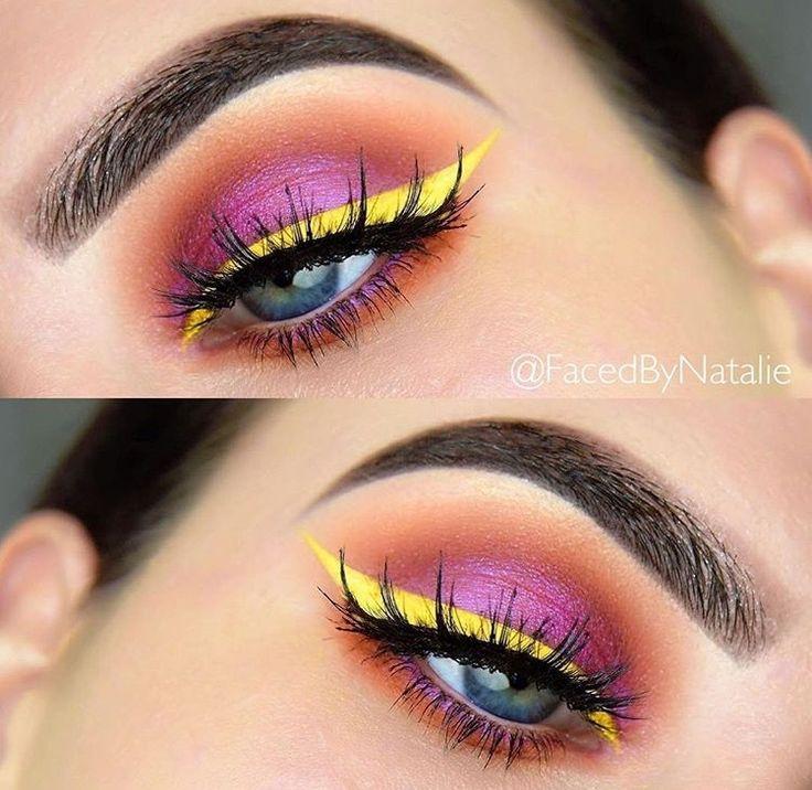 Such a beautiful, fun look!  natalie phalen    #colorfulmakeup #cateye #eyeliner