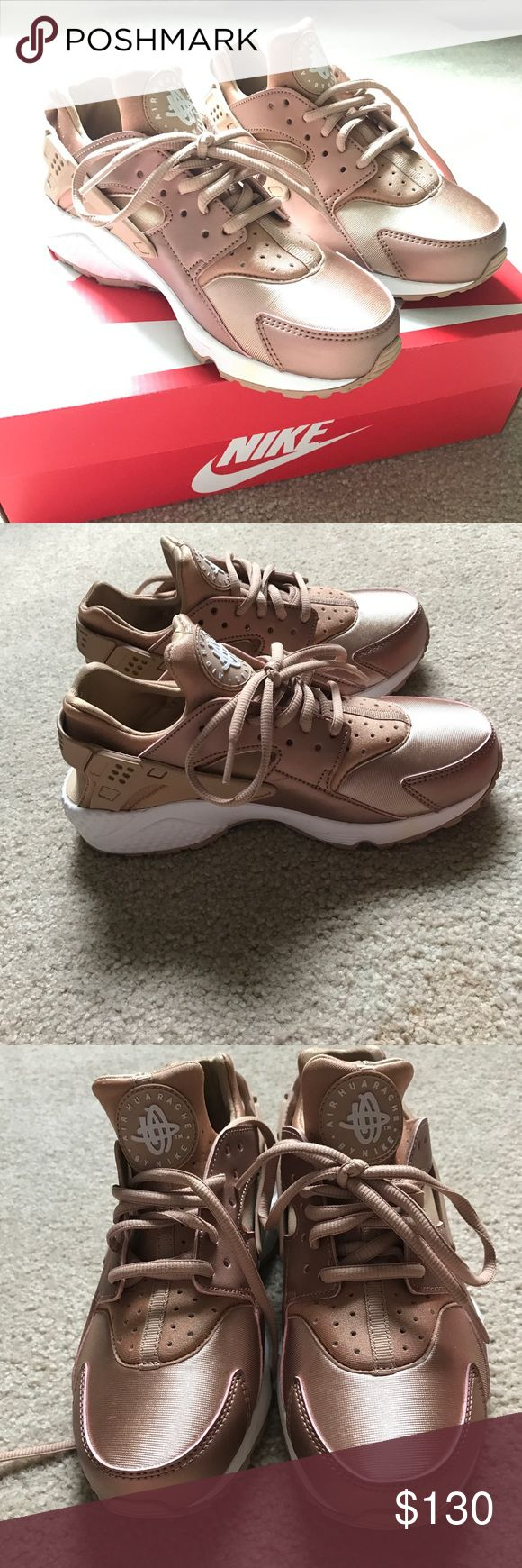 ROSE GOLD Nike Huarache Run Extremely RARE Rose Gold Nike Air Huarache Run SE. NEW! Never Worn. These Nike's are so gorgeous I was afraid to wear them! Offers welcome! Nike Shoes Sneakers