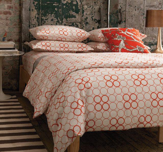 dwellstudio circles bedding in persimmon