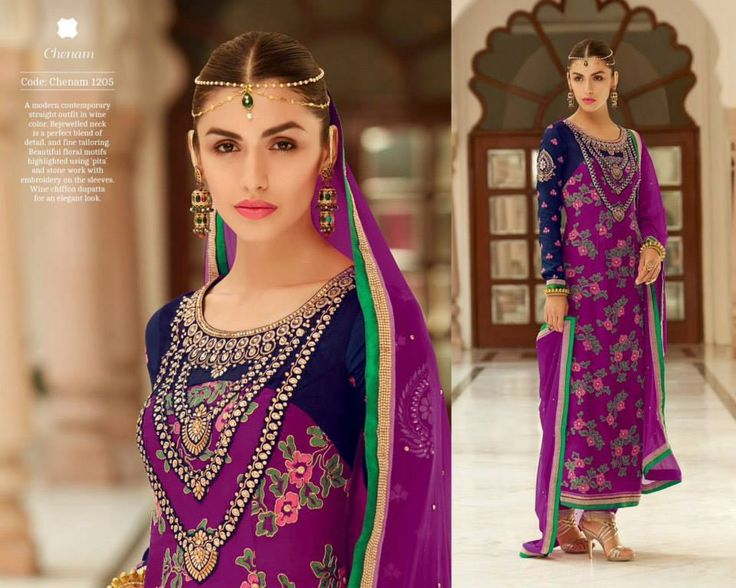 """""""Fabulous ethnic"""" <3 <3 Code: fabe kmpurple Price:6395/- Material: Semi-stitched/georgette/chiffon dupatta. For booking and further details pls call or whatsapp us at +919600639563 Happy shopping y'all :) Be Beautiful :)"""