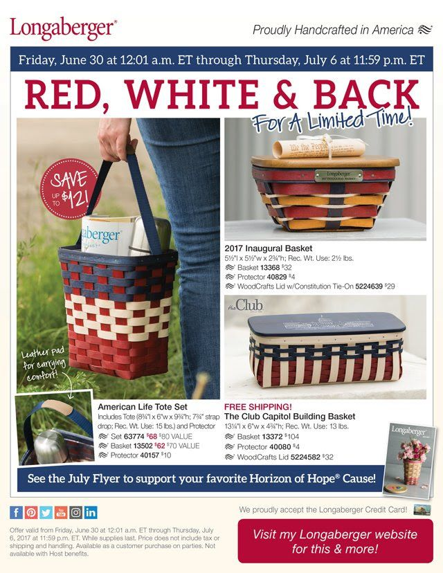 Celebrating our Great Nation!  Our popular 2017 Inaugural Basket and Club Capitol Building Basket are back for a limited time. These patriotic baskets are a beautiful expression of your pride in our country and the American spirit! Making its debut is our American Life Tote - perfect for carrying everything you need for everyday errands, children's events and work essentials. Visit my Longaberger website to order today! http://shopus.longaberger.com/heidianhalt