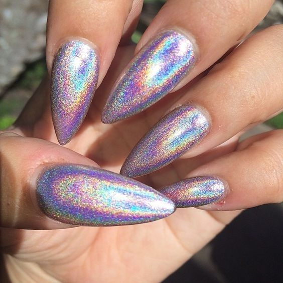 Shimmery Holographic Manicures Are Our Newest Nail Obsession - These Holographic Nails Will Give You Major Nail Envy - Photos