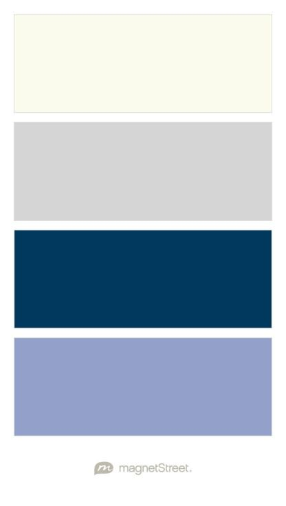 Ivory, Silver, Navy, and Periwinkle Wedding Color Palette - custom color palette created at MagnetStreet.com