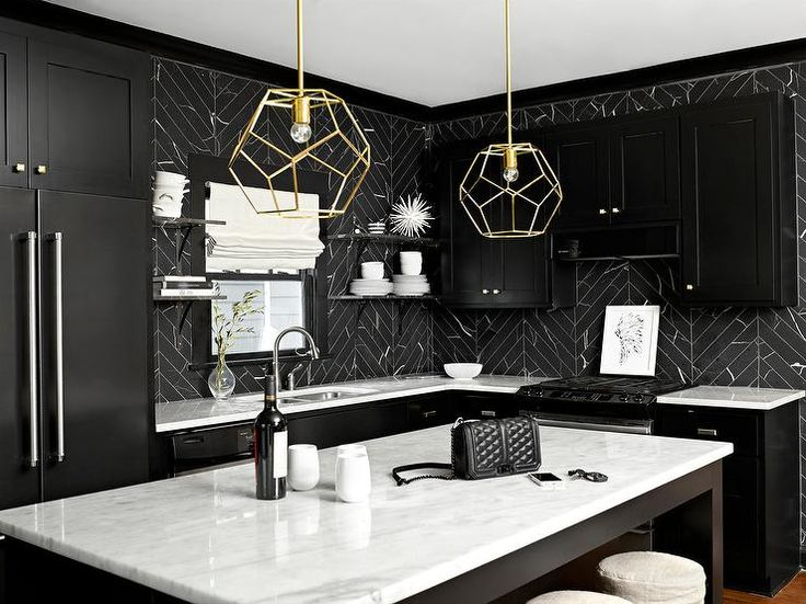 Black And White Kitchen Features Black Shaker Cabinets