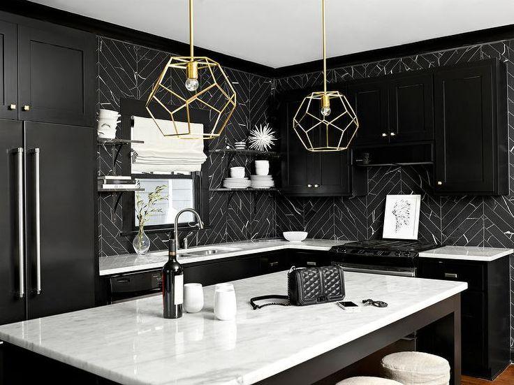 17 best ideas about black kitchen cabinets on pinterest kitchens with dark cabinets navy - Black and white kitchen backsplash ...