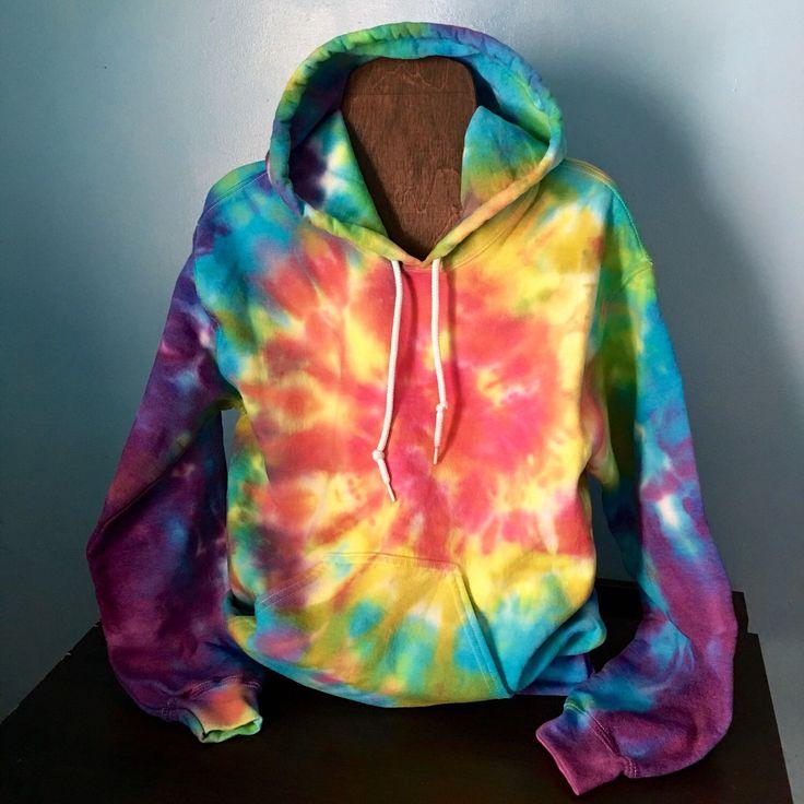 Custom made to order rainbow explosion tie dye pullover hoodie - $48.00 at Beach Bum Boutique https://www.etsy.com/listing/262791422/tie-dye-hoodie-rainbow-explosion-tie-dye