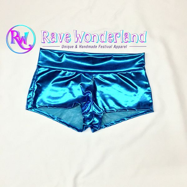 Women's Metallic Teal Booty Shorts Teal Shorts Teal Boy Shorts Teal... ($15) ❤ liked on Polyvore featuring shorts, light purple, women's clothing, metallic boy shorts, boy shorts, metallic shorts, short shorts and teal shorts
