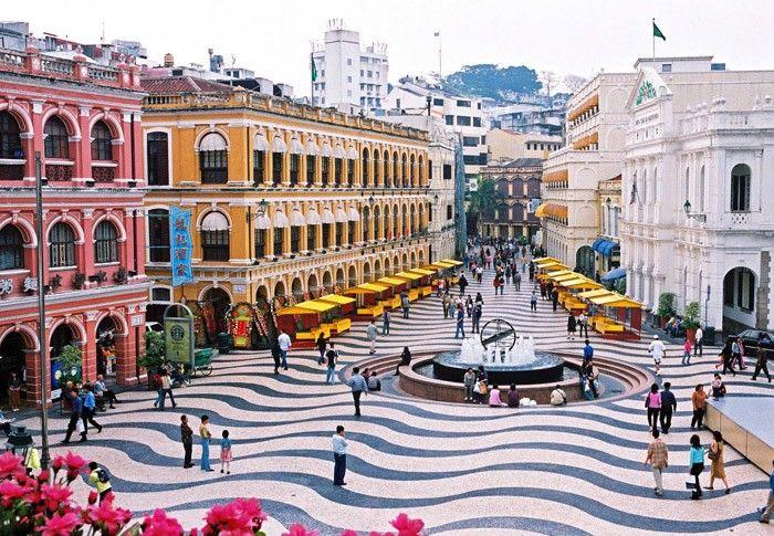 Typical sidewalks in the heart of #Macau